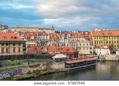 Prague, Czech Republic, December 2014. View Over Mala Strana District And Kampa Island In Prague Fro