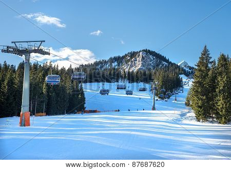 Garmisch-partenkirchen, January 7: Mountain Skiing Slopes At Hausberg Top Near Garmisch-partenkirche