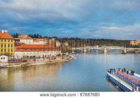 Prague, Czech Republic, Central Europe, 25.12.2014: The View From Charles Bridge Over The Vltava Riv