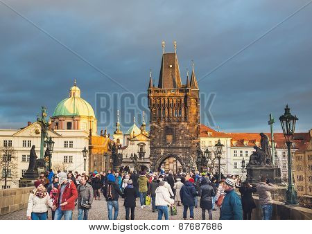 Prague, Czech Republic. Charles Bridge Crowded With Locals And Tourists