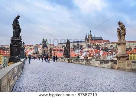 Charles bridge the statues and the view over Mala Strana