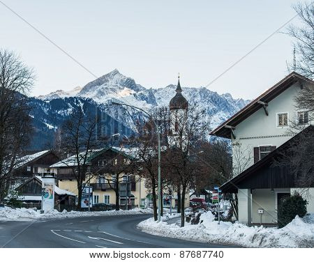 Garmisch-partenkirchen Town In Bavarian Alps In Germany In Winter