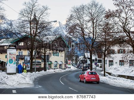 Garmisch-partenkirchen Town In Bavarian Alps, Germany. Small Alpine Town Street