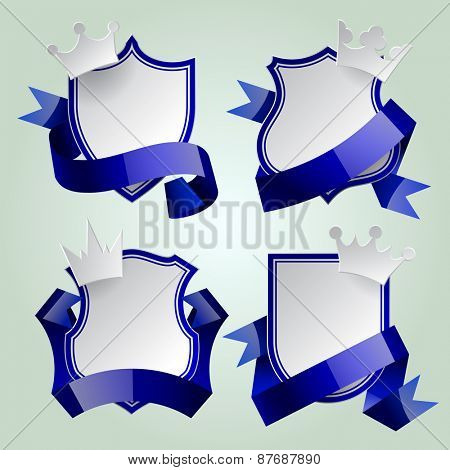 Badge set with blue ribbon and paper crown. Retro design elements. Contain the Clipping Path