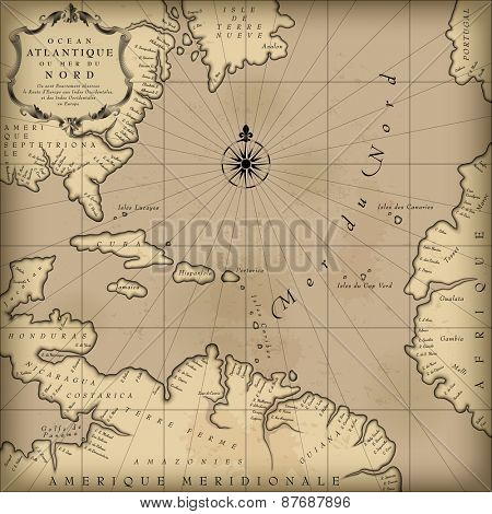Old geographic map of Atlantic ocean region lands in a free interpretation with text. Vintage chart background