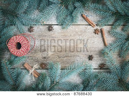 Christmas (new Year) Decoration Background: Fur-tree Branches, Golden Glass Balls, Golden Glittering