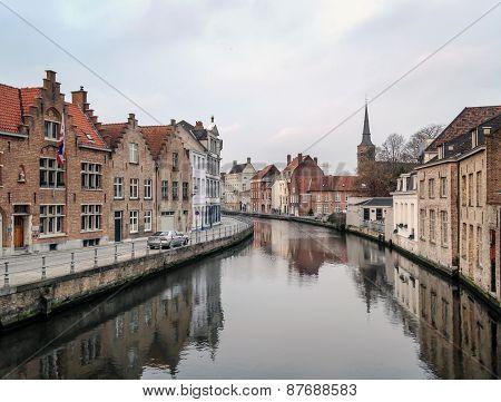 Medieval Channel In Bruges, Belgium,
