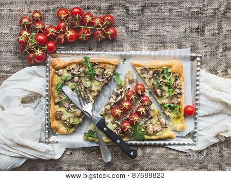 Ristic Mushroom (fungi) Square Pizza With Cherry Tomatoes And Arugula