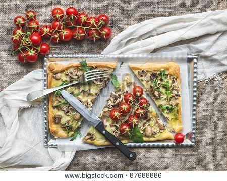 Rustic Mushroom (fungi) Square Pizza With Cherry Tomatoes And Arugula
