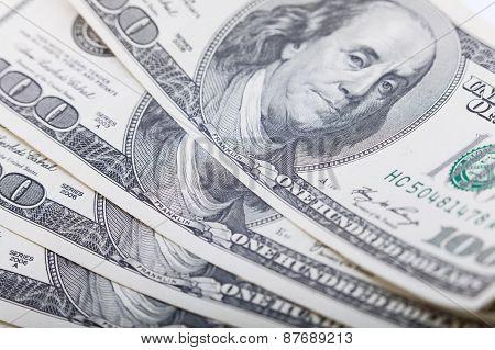 Hundred dollars banknote closeup, money background