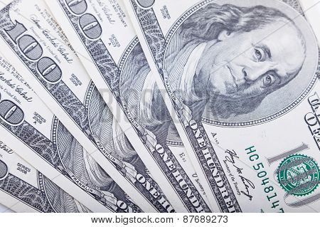Hundred dollars banknote closeup, money background