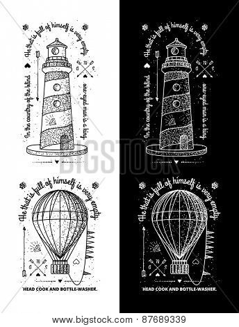 Trendy Retro Vintage Insignias - Badges vector set with the lighthouse.