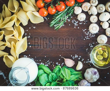 Pasta Ingredients: Conchiglioni,mushrooms, A Jug Of Cream, Olive Oil, Garlic, Spinach, Tomatoes, Fre