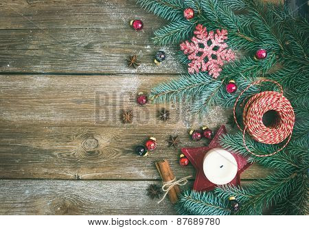 Christmas Decorations: Fur-tree Branches, Colorful Glass Balls, A Candle, Red Glittering Snowflacke,