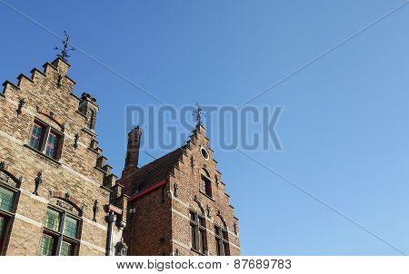 Medieval Houses In Bruges Town, West Flanders, Belgium
