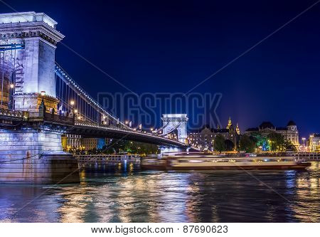 The View Of Chain Bridge And The Danube At Night, Budapest, Hungary