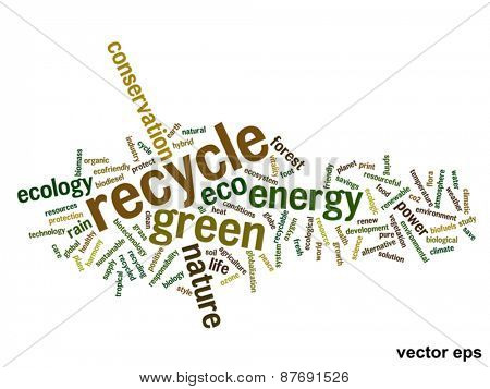 Vector concept or conceptual abstract green ecology and conservation word cloud text isolated on background