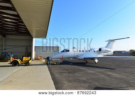 Towing Jet into Hangar