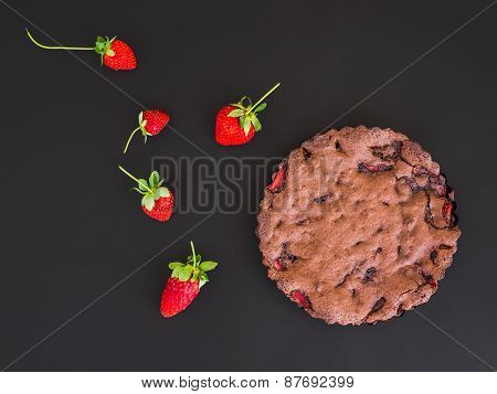 Chocolate Strawberry Cake With Fresh Strawberries On A Dark Surface
