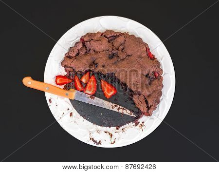 Chocolate Strawberry Cake With Fresh Strawberries On A White Ceramic Plate On Dark