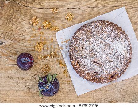 Plum Pie With Walnuts