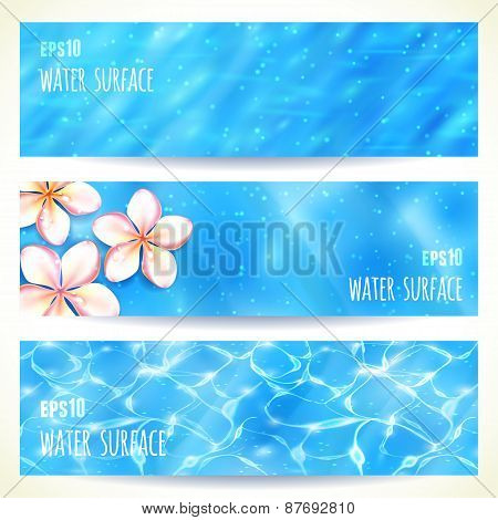 Set of Horizontal Banners with Water Surface. Vector illustration, eps10, editable.