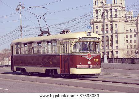 Vintage Tram On The Empty Street.