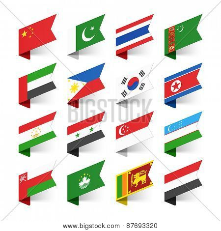 Flags of the World, Asia, set 1 vector illustration