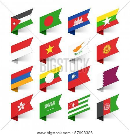 Flags of the World, Asia, set 3 vector illustration