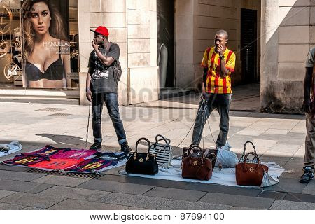 Illegal Street Vendors In Barcelona