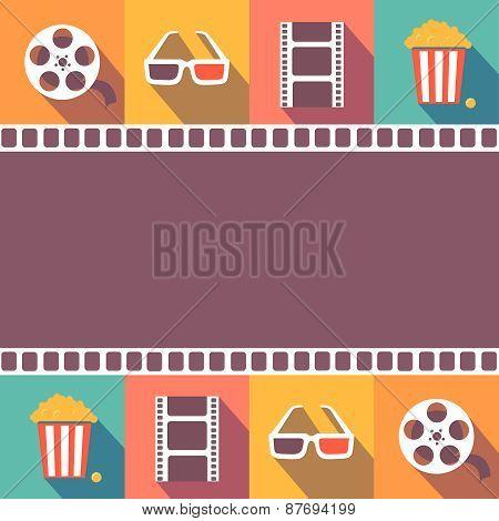 Cinema icons set. Flat style signs   illustration
