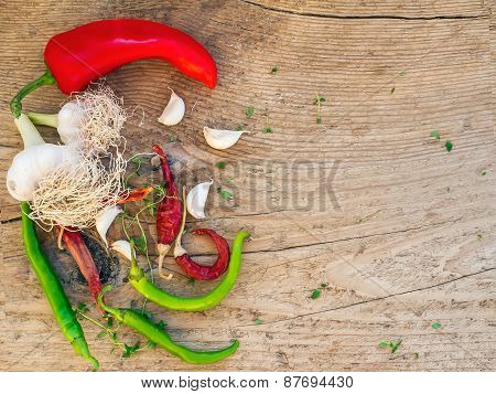 Vegetable Set On A Wooden Background