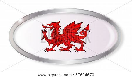 Welsh Dragon Oval Button