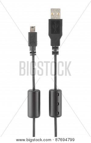 Mini Usb Cable Isolated On White Background, Clipping Path