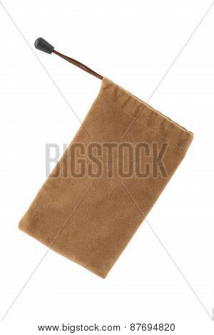 Brown Pouch Isolated On White Background With Clipping Path