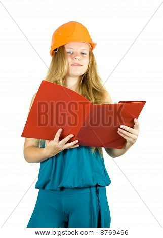 Girl In Hard Hat  With Documents