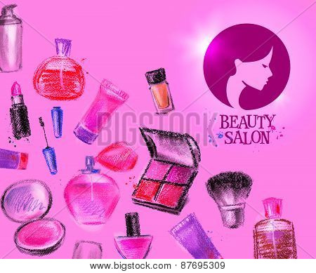 beauty salon vector logo design template. cosmetics or makeup icon.