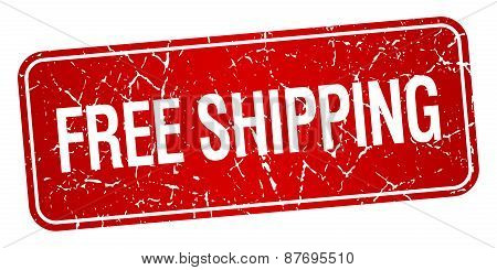 Free Shipping Red Square Grunge Textured Isolated Stamp