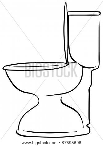 Close up doodle of white toilet