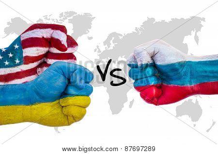 Usa And Ukraine Versus Russia