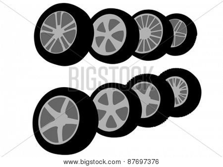 Large tires for the car on a white background
