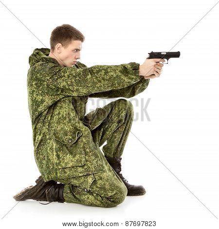 Military Man Shoots