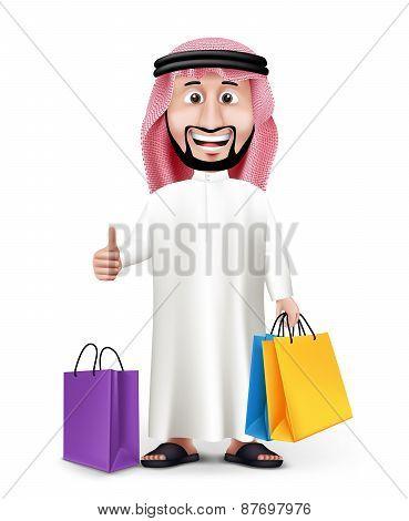 Realistic 3D Handsome Saudi Arab Man Character