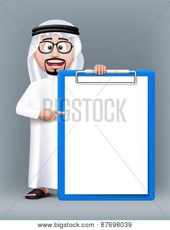 Realistic 3D Smart Saudi Arab Man Character Wearing