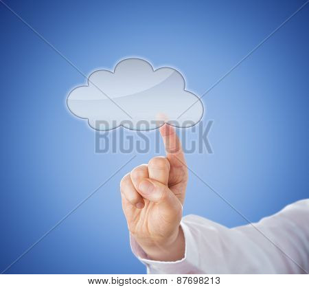 Copy Space In Cloud Icon Touched By Index Finger
