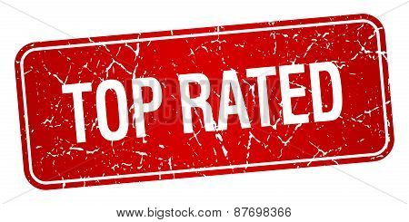 Top Rated Red Square Grunge Textured Isolated Stamp