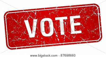 Vote Red Square Grunge Textured Isolated Stamp