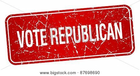 Vote Republican Red Square Grunge Textured Isolated Stamp