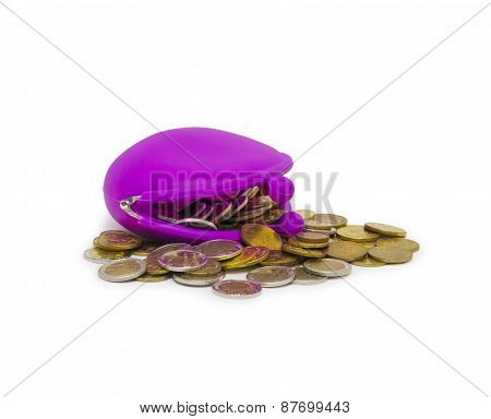 Purse And Coins On White Background