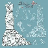 picture of bridal veil  - Vintage composition of wedding long dress with handbag - JPG